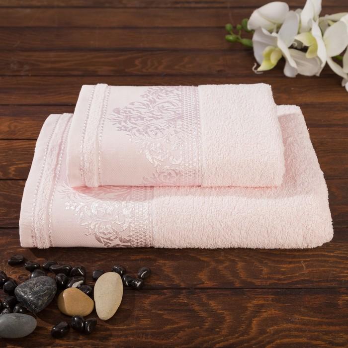 "Набор махровых полотенец ""Yasemin"" 50х90 см, 70х130 см, розовый,420 г/м2, хл.100 % (к 2)"