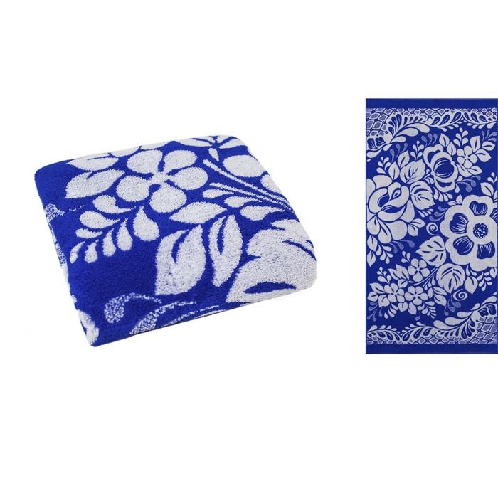 Полотенце махровое Privila Узоры 70х140 см, синий, хлопок 100%
