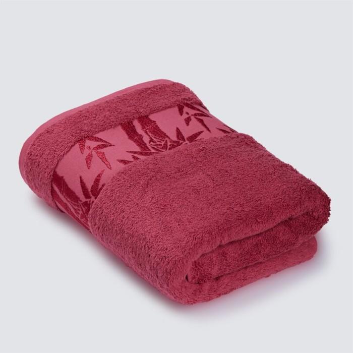 Полотенце «Бамбук», размер 70 × 130 см, махра, цвет малиновый