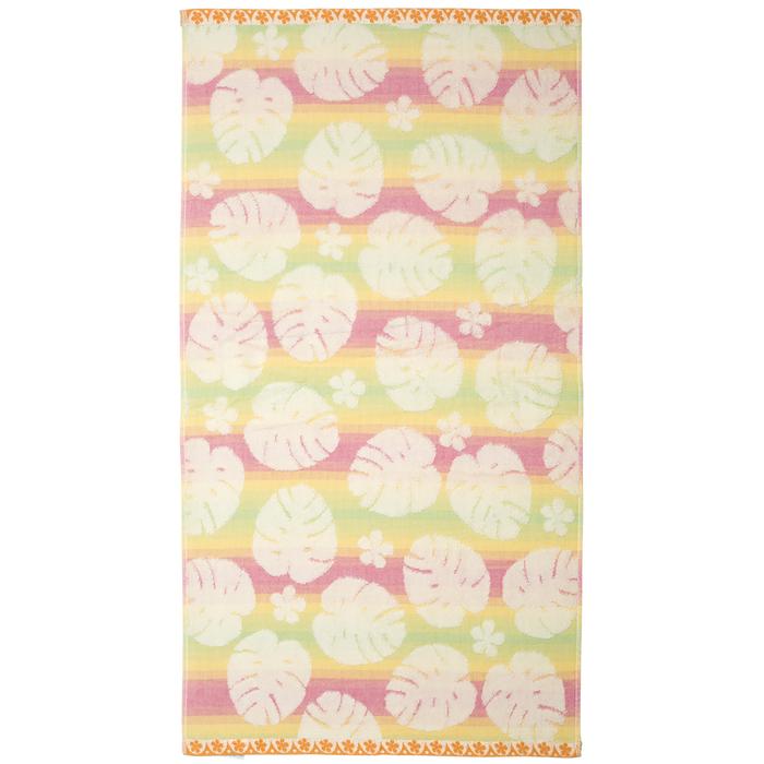 """Полотенце махровое """"Монстера"""" 65х135 см,желто-розовый,380 г/м2, 100% хлопок"""