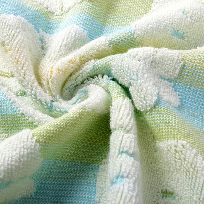 """Полотенце махровое """"Монстера"""" 65х135 см,сине-зеленый,380 г/м2, 100% хлопок"""