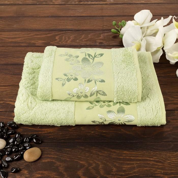 Комплект махровых полотенец в коробке Fiesta Verona, 70х140, 50х90 см, зеленый , бамбук