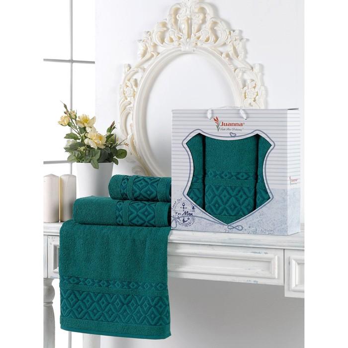 Набор махровых полотенец Prizma, 50х90 см - 2 шт, 70х140 -1 шт, цвет т.зелёный.