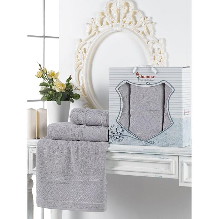 Набор махровых полотенец Prizma, 50х90 см - 2 шт, 70х140 -1 шт, цвет серый.