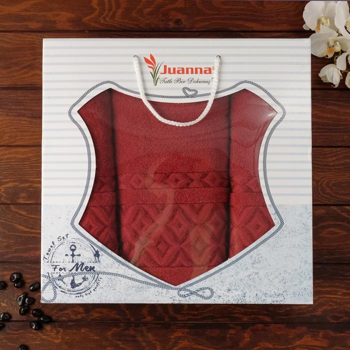 Набор махровых полотенец Prizma, 50х90 см - 2 шт, 70х140 - 1 шт, цвет бордовый.