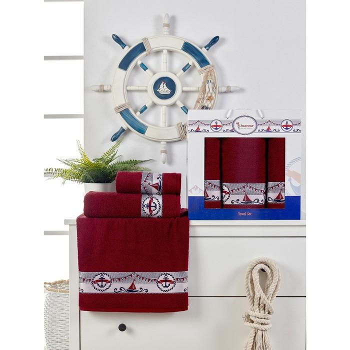 Набор махровых полотенец Marin, 50х90 см - 2 шт, 70х140 - 1 шт, цвет бордовый.