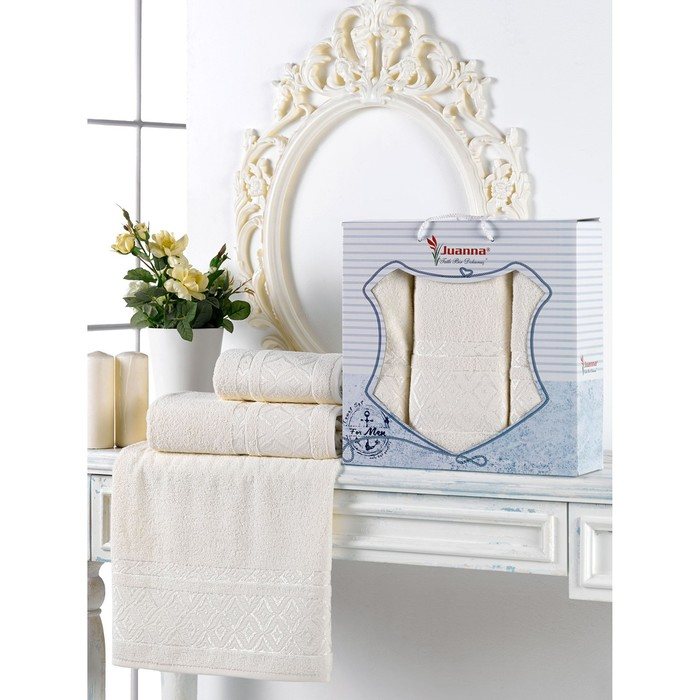 Набор махровых полотенец Prizma, 50х90 см - 2 шт, 70х140 -1 шт, цвет кремовый.