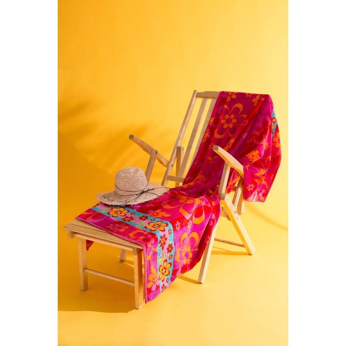 Полотенце пляжное велюровое Цветы 102х178 см, 470 гр/м2