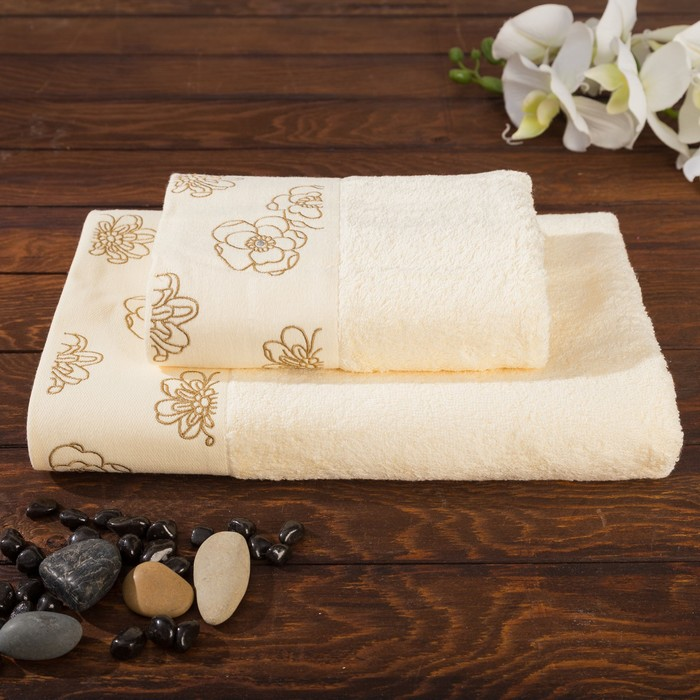 Комплект махровых полотенец Exclusive 70х140, 50х90 см, цвет шампань, бамбук