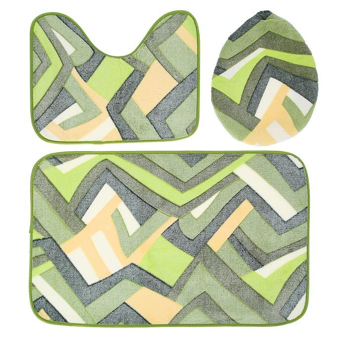 """Набор ковриков для ванной и туалета """"Геометрия"""", 3 шт, цвет зелёный"""