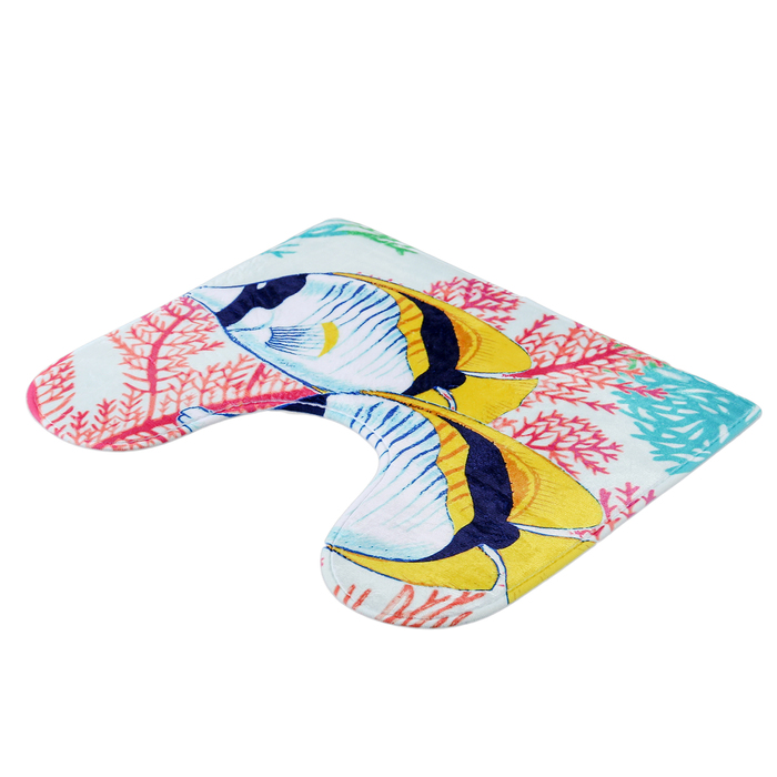 """Набор ковриков для ванной и туалета """"Морские рыбки"""", 2 шт: 45×75, 45×40 см"""