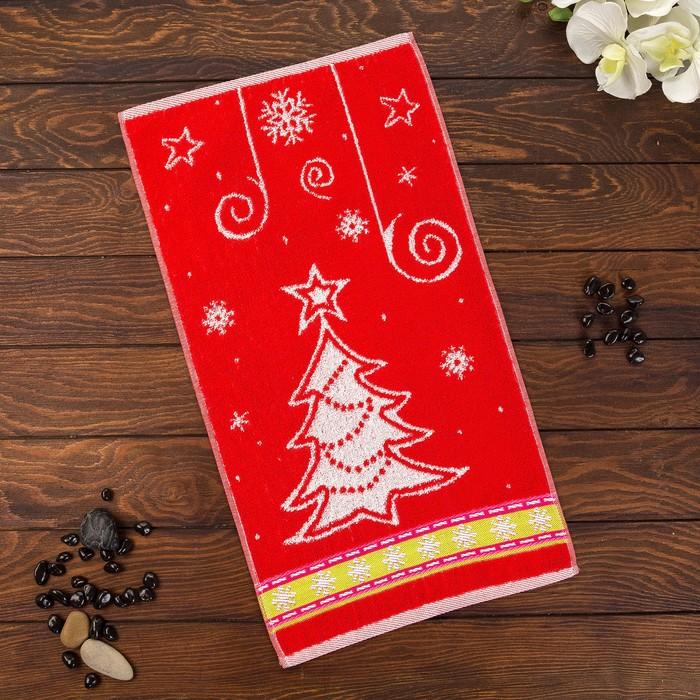 Полотенце махровое Новогодняя карусель 30х60 см, МИКС, хлопок 100%