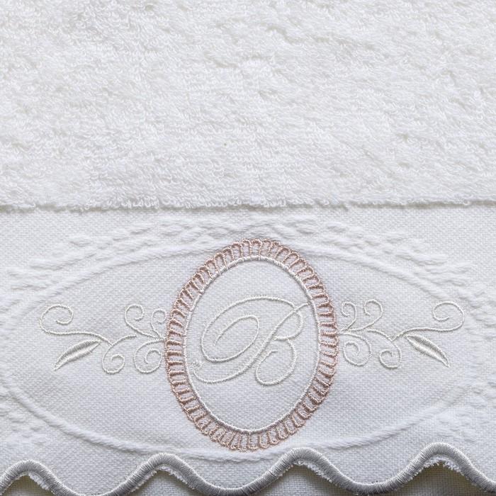 Полотенце махровое Belle 34x78 см, хлопок 100%, белый, 380 г/м2