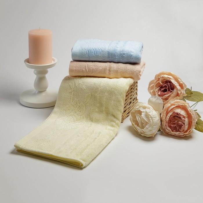 Полотенце махровое «Роза», 33х75 см, цвет персиковый
