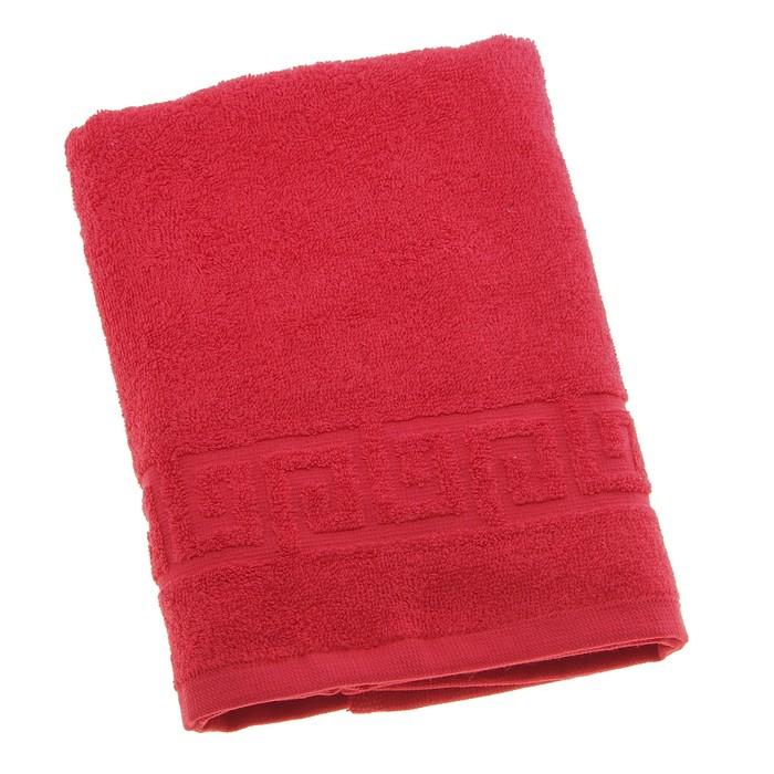 Полотенце махровое однотонное Антей 50х90 см, красный, 100% хлопок, 430 гр/м2