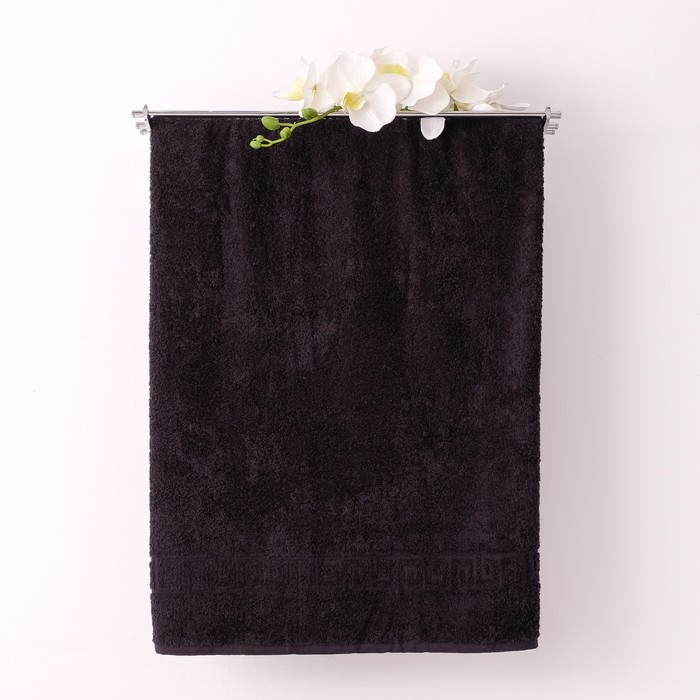 Полотенце махровое однотонное Антей 50х90 см, черный, 100% хлопок, 430 гр/м2