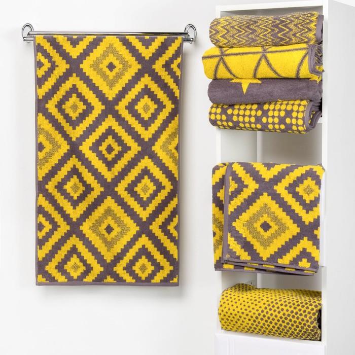 """Полотенце махровое """"Этель"""" Пэчворк цвет жёлтый 50х90 см, 100% хл, 420 гр/м2"""