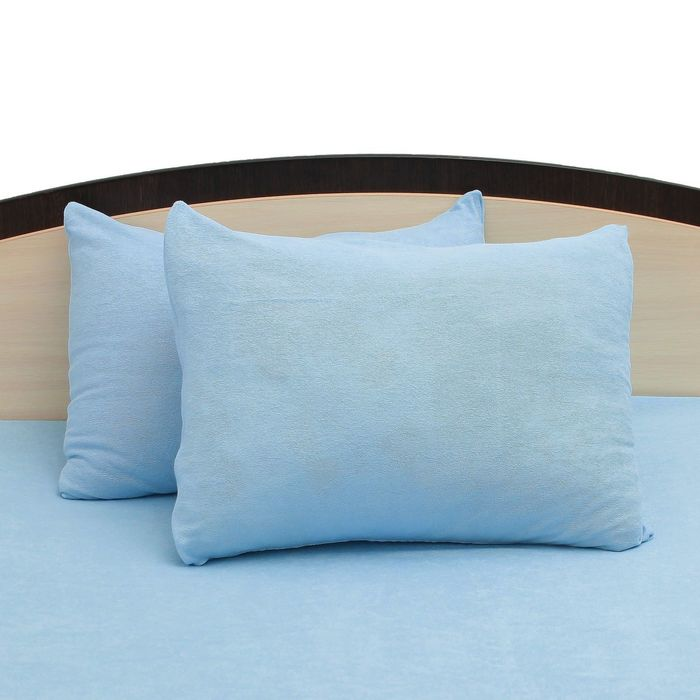 Наволочки махровые на молнии, 50х70 - 2шт, цвет голубой, 160 гр/м2