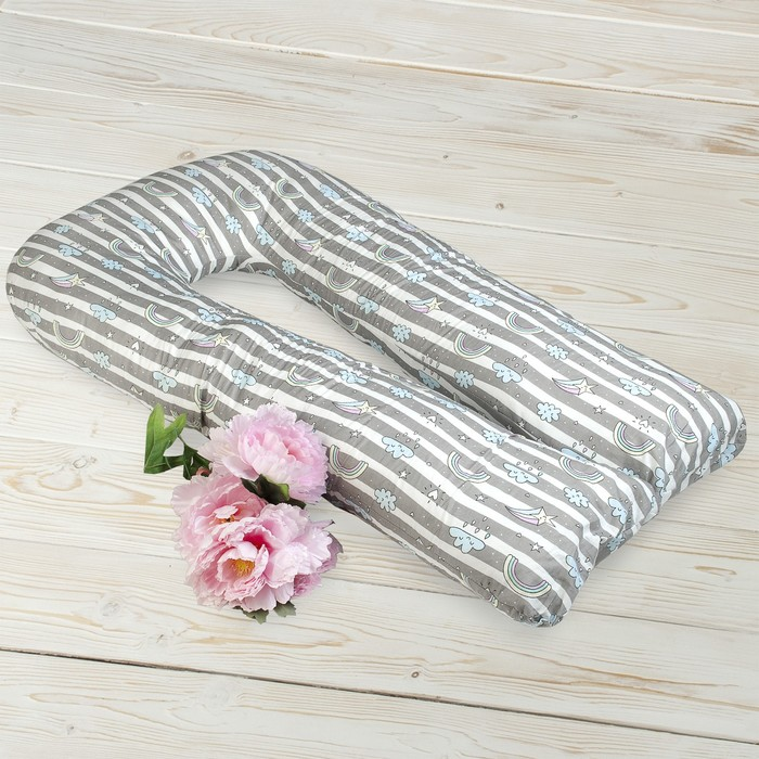 Наволочка к подушке для беременных U-образная, размер 35 × 340 см, принт радуга