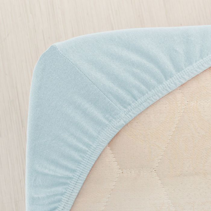 Простыня трикотажная на резинке, 160х200х20, цвет голубой, 125 гр/м2
