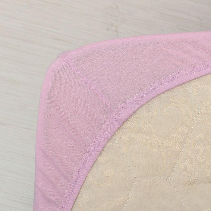 Простыня трикотажная на резинке, 180х200х20, цвет сиреневый, 125 гр/м2