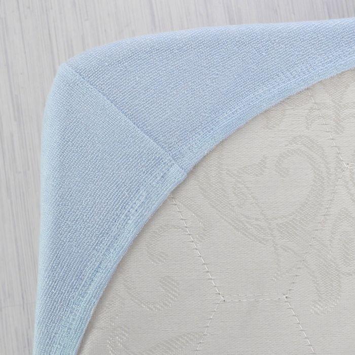 Простыня махровая на резинке, 120х200х20, цвет голубой, 160 гр/м2