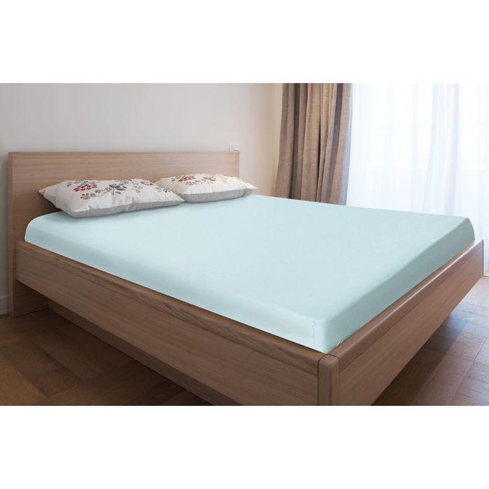 Простыня трикотажная на резинке, 120х200х20, цвет голубой, 125 гр/м2