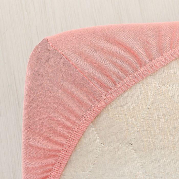 Простыня трикотажная на резинке, 120х200х20, цвет коралловый, 125 гр/м2
