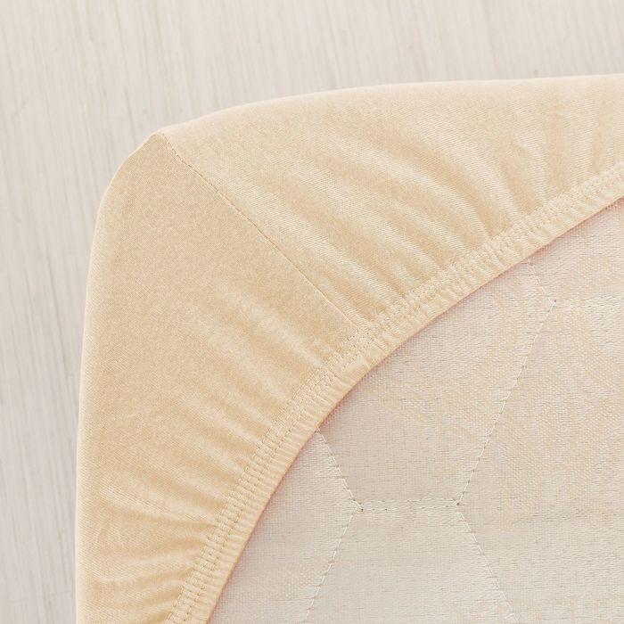 Простыня трикотажная на резинке, 120х200х20, цвет кремовый, 125 гр/м2