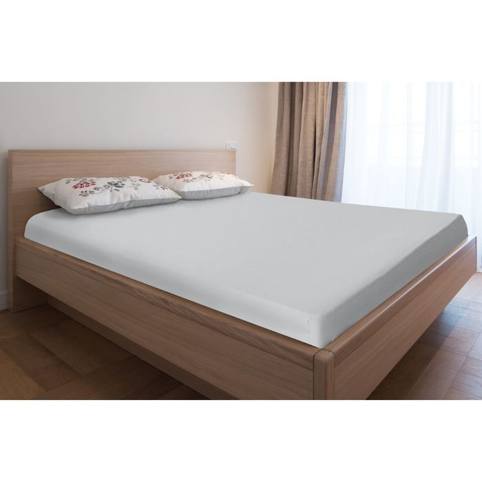 Простыня трикотажная на резинке, 140х200х20, цвет серый, 125 гр/м2