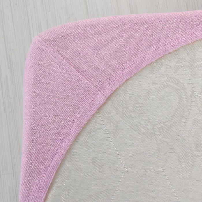 Простыня махровая на резинке, 140х200х20, цвет сиреневый, 160 гр/м2