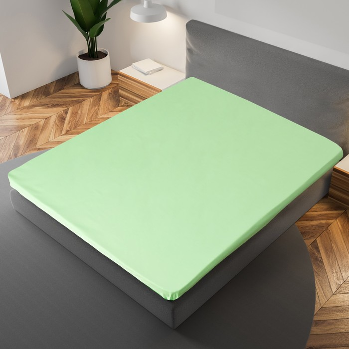Простыня «Этель» 150×215 см, цвет салатовый, 100% хлопок, мако-сатин, 125 г/м²