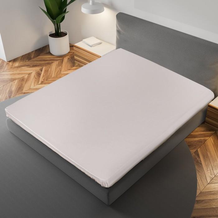 Простыня «Этель» 180×215 см, цвет серый, 100% хлопок, мако-сатин, 125 г/м²