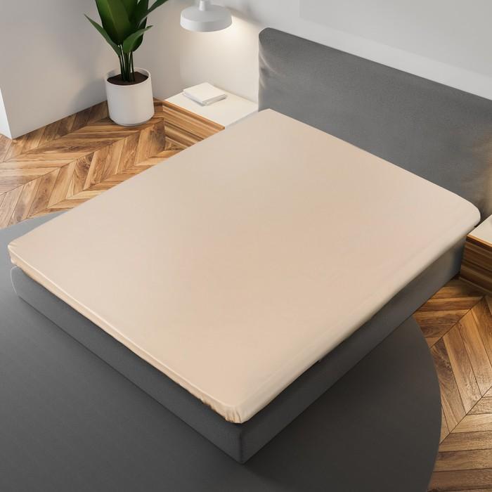 Простыня «Этель» 180×215 см, цвет бежевый, 100% хлопок, мако-сатин, 125 г/м²
