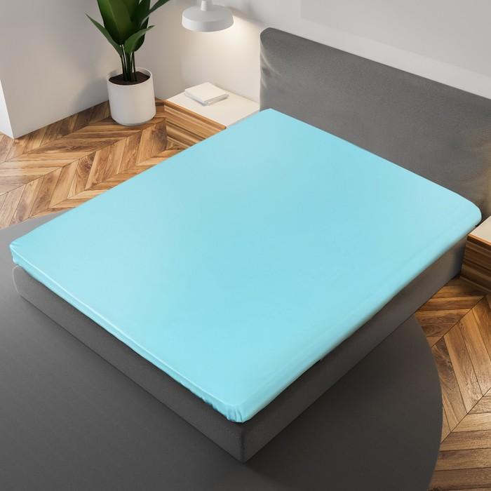 Простыня «Этель» 215×240 см, цвет голубой, 100% хлопок, мако-сатин, 125 г/м²