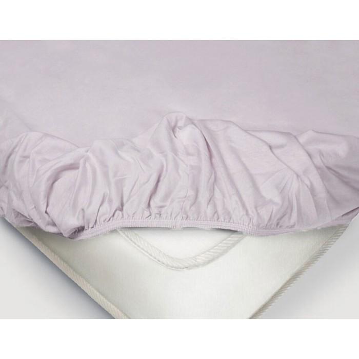 Простыня на резинке, размер 140×200 см, поплин, цвет сиреневый