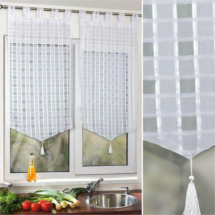 Комплект штор «Поло», размер 60 × 120 см - 2 шт, клетка, белый