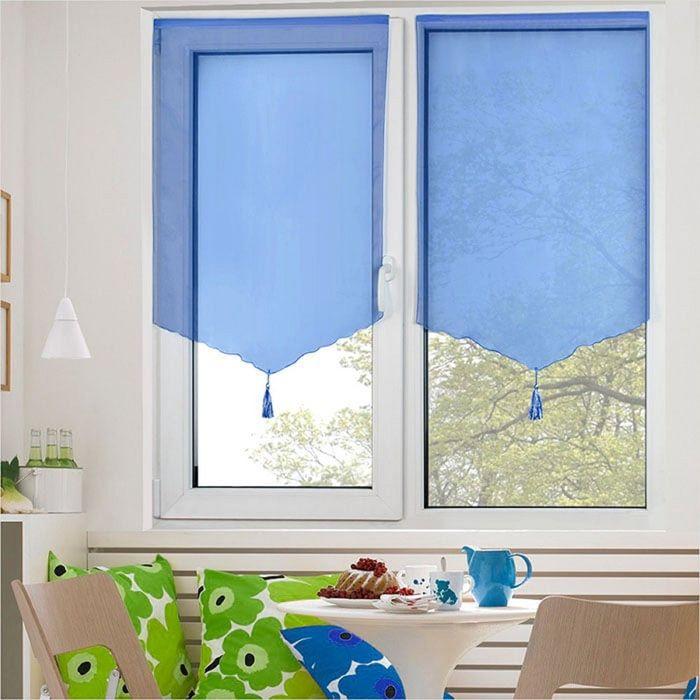 Комплект штор «Гольф» на липкой ленте, 60 × 140 см - 2 шт, синий