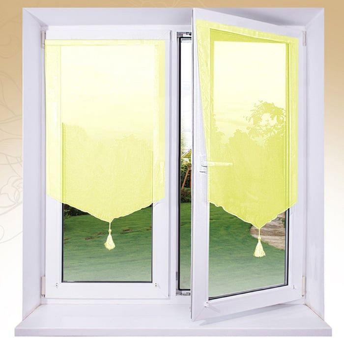 Комплект штор «Гольф» на липкой ленте, 60 × 140 см - 2 шт, лимонный