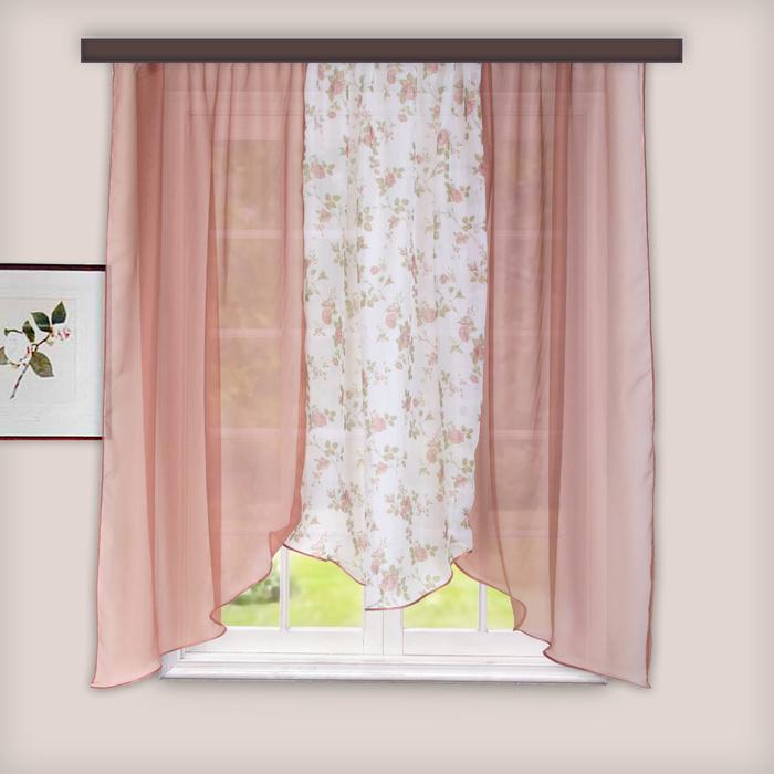 Комплект штор для кухни «Альби», 270х160 см, цвет какао