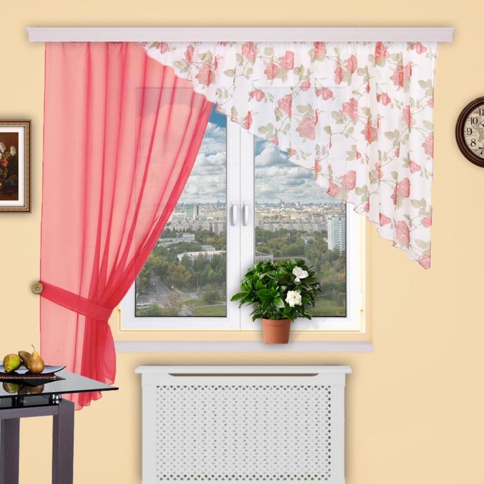 Шторы кухонные «Танго», 150 × 180 см - 1 шт, 280 × 120 см - 1 шт, цвет 274