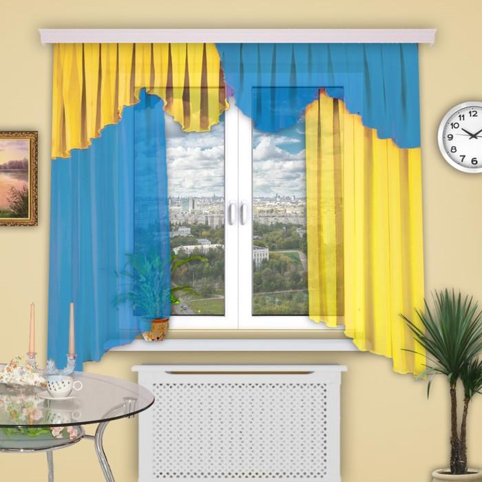 """Шторы кухонные """"Каприз"""", 150х160 см-2 шт., ламбрекен 50х550 см цвет 6"""