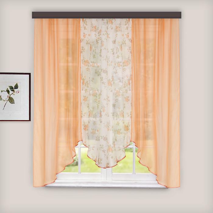 Комплект штор для кухни «Альби», 270х160 см, цвет персиковый