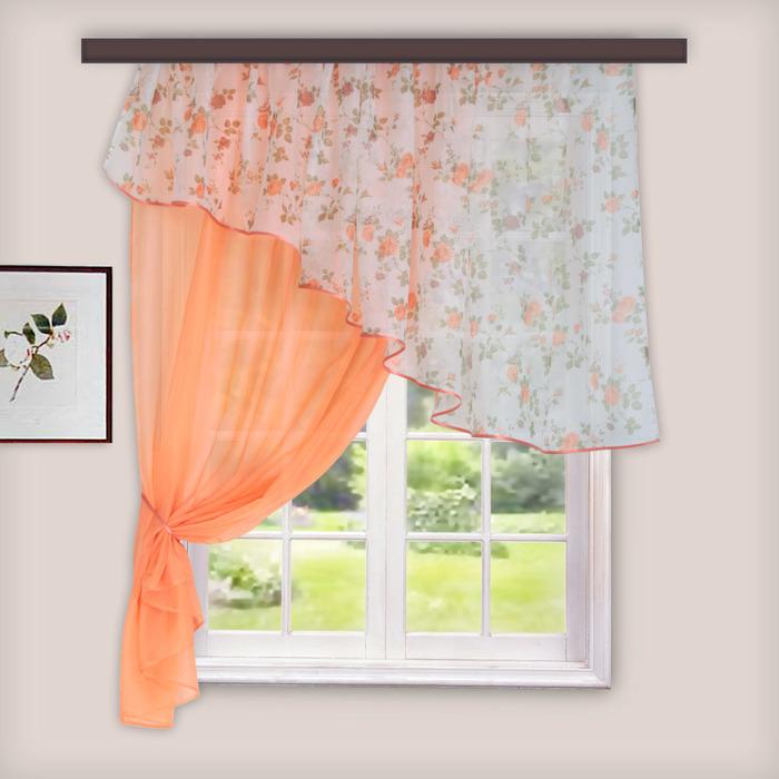 Комплект штор для кухни «Византия», 280х160 см, цвет персиковый