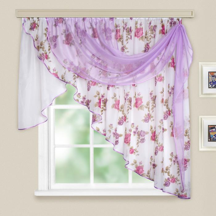 Комплект штор для кухни «Иллюзия», 300х150 см, цвет темно-розовый