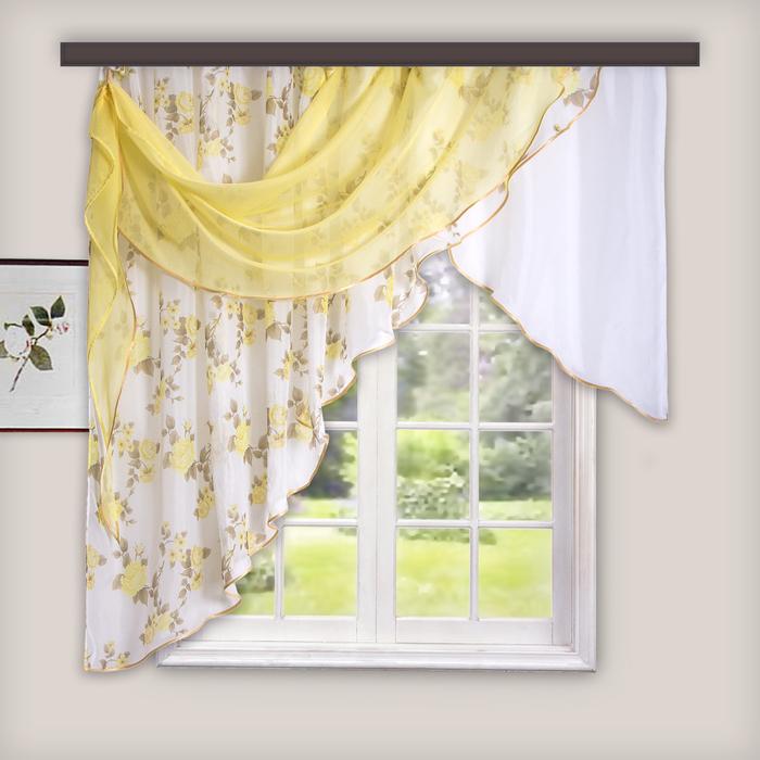 Комплект штор для кухни Иллюзия 300х150 см, золото, левая, 100% п/э