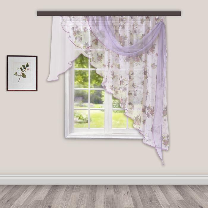 Комплект штор для кухни Иллюзия 300х150 см, сирень, правая, 100% п/э