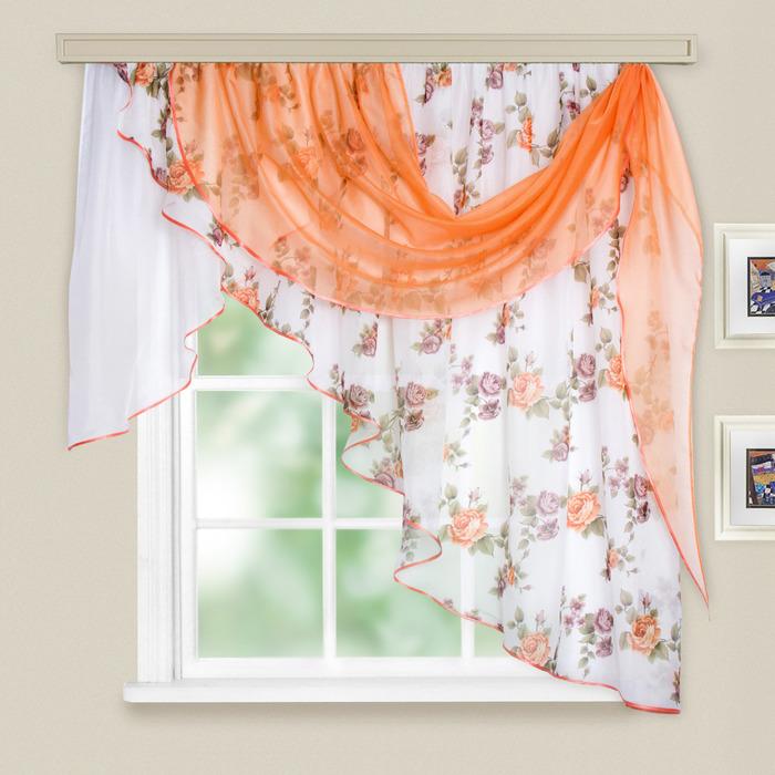 Комплект штор для кухни «Иллюзия», 300х150 см, цвет персиковый