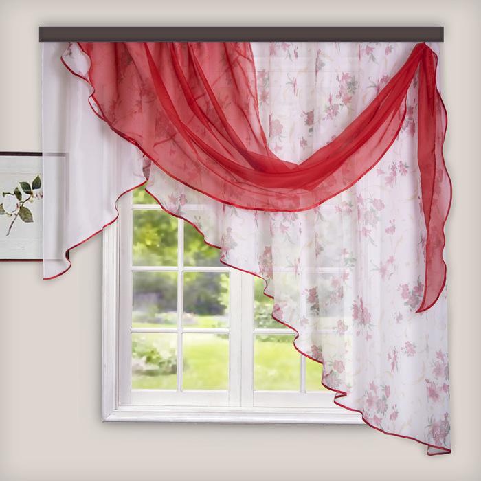 Комплект штор для кухни Иллюзия 300х150 см, цв. красный, правая, пэ 100%