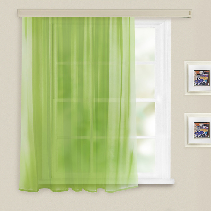 Штора вуаль однотонная 140х145 см, цв. св. зеленый, пэ 100%
